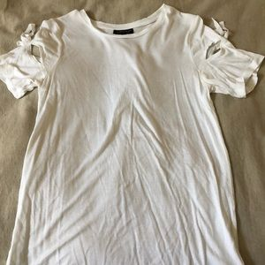 Top shop white shirt with bow slits on sleeve